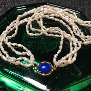 Vintage Beaded Choker Necklace Blue Pendant